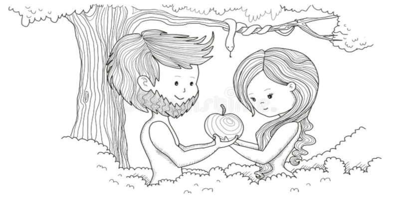 adam-eve-eden-holding-apple-68693320'